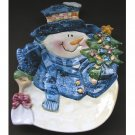 Christmas Serving Platter Country Snowman Holiday Ceramic Serverware 9.5in