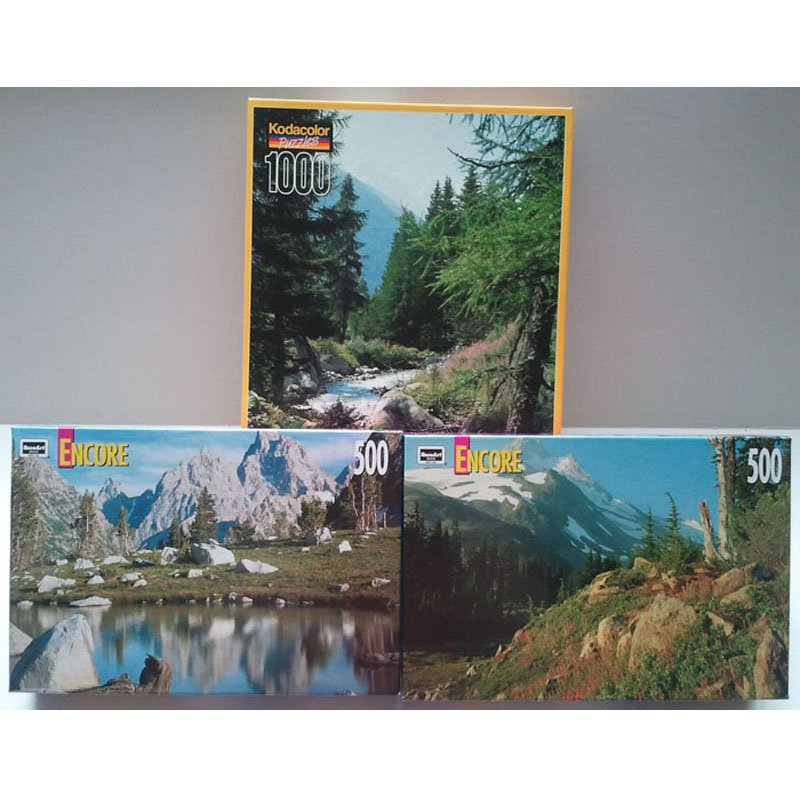 RELIST RoseArt Jigsaw Puzzle Set of 2 Mont Blanc French Alps 1000pc and Mt Jefferson 500pc