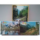 RoseArt Jigsaw Puzzle Set of 3 Mont Blanc French Alps 1000pc Cascade Canyon 500pc Mt Jefferson 500pc