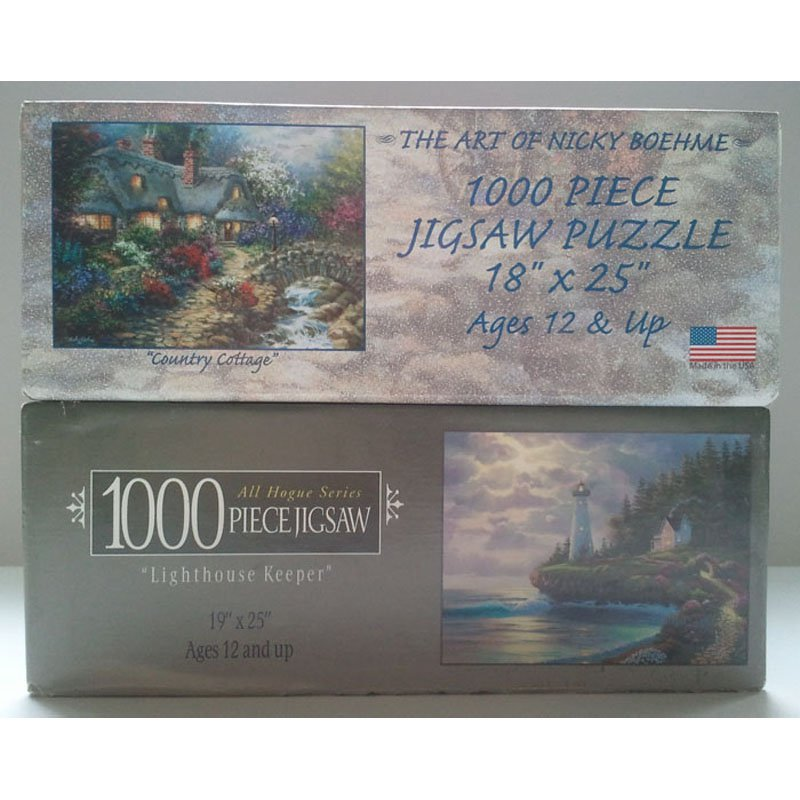 Jigsaw Puzzle Set of 2 1000pc The Art of Nicky Boehme Country Cottage and Al Hogue Lighthouse Keeper