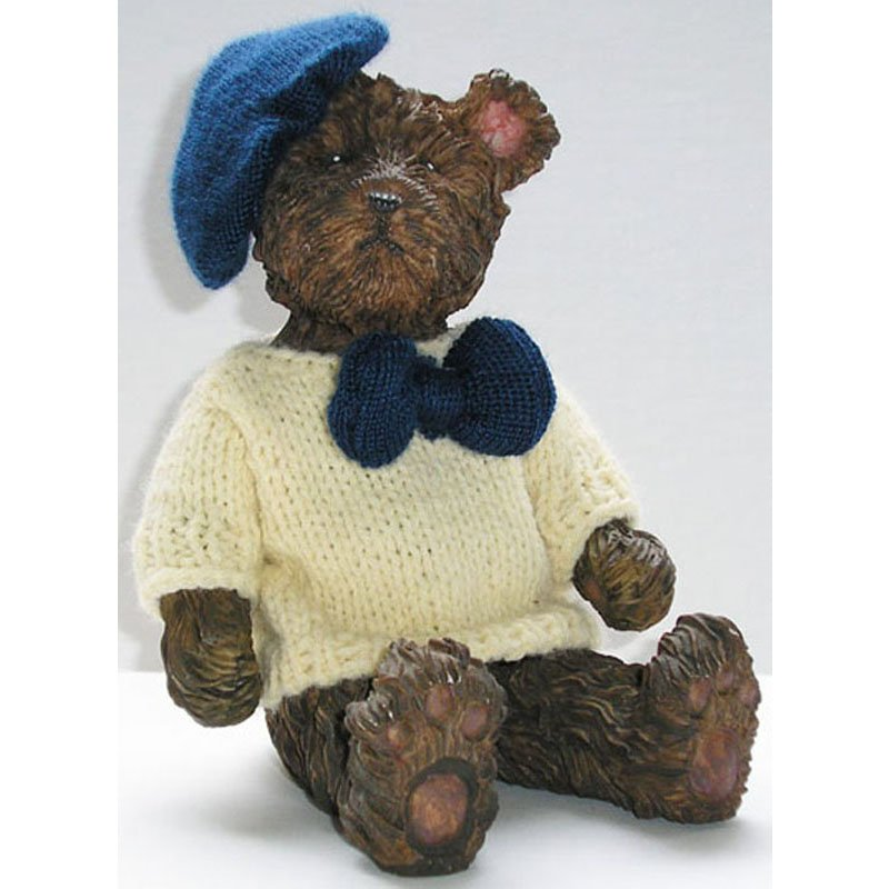 Vintage Stoneware Figurine Brown Bear in Knitted White Sweater with Dark Blue Bow and Beret 6in Tall