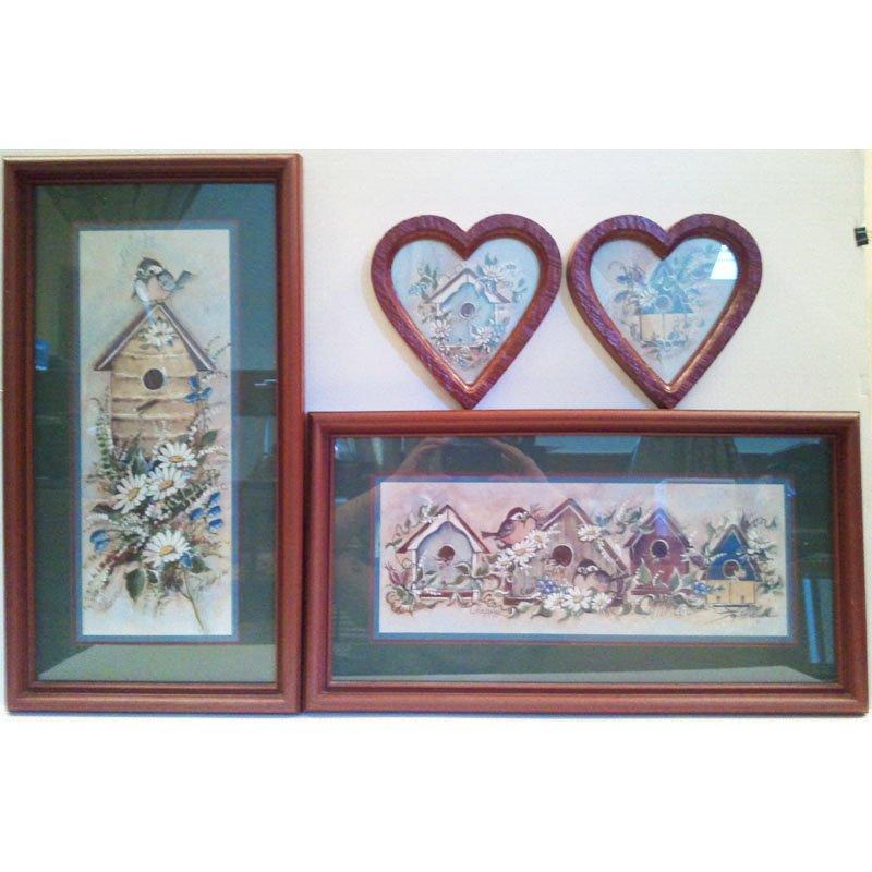 Home Interior Birdhouse Wall Art Set Joy Alldredge Framed Prints Vintage 1980s 4pc Set