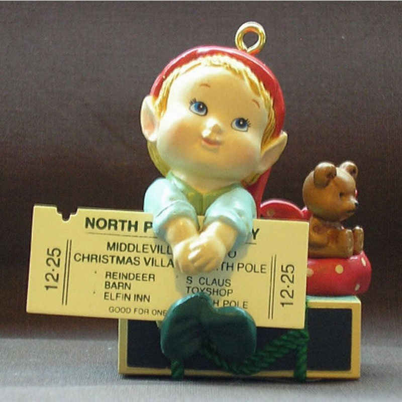 Traveling Elf Ornament Home for the Holidays Vintage Carlton Heirloom Christmas Collectible 1990 MIB