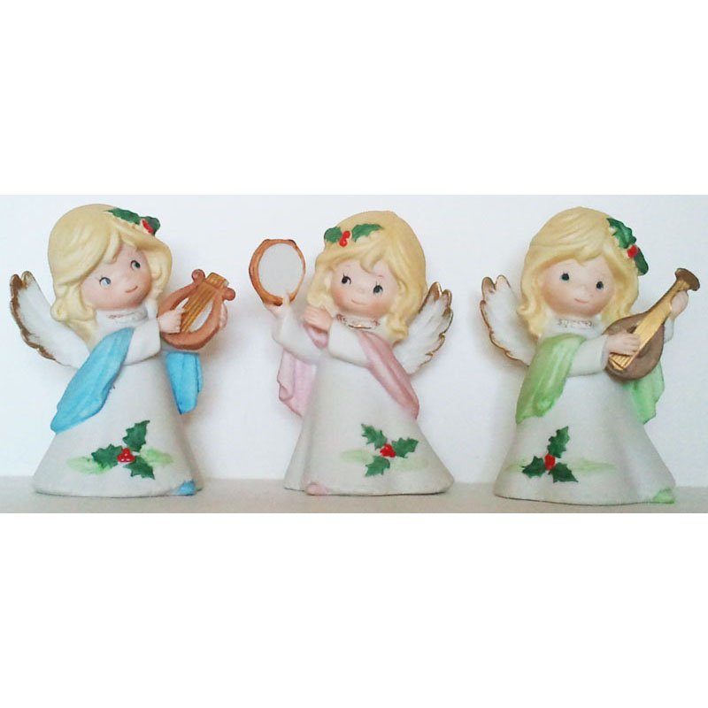 Christmas Angels Figurines Homco Musical Angels Set of 3 Porcelain Bisque Vintage Collectible 5612