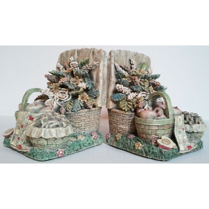 Heavy Bookends Garden Picnic Theme by TCR Quality Stoneware 5.5in Tall