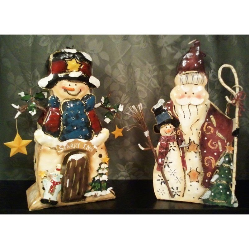 Rustic Santa and Snowman Candle Holders Tin Set of 2 with 8 Cinnamon Scented Tealight Candles