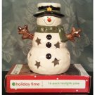 Yankee Candle Snowman Porcelain Tealight Candle Holder with 16-pk Pine Scented Tealight Candles