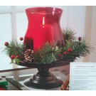 Holiday Wreath Pedestal Hurricane Candle Holder Ruby Red Better Homes and Gardens 2009 Ltd Ed