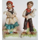 Victorian Farm Boy and Girl Figurines Vintage Porcelain Bisque Circa 1980s Set of 2