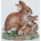 Homco Bunny Blessings Masterpiece Porcelain Vintage Collectible 1990 Mom and Two Baby Rabbits