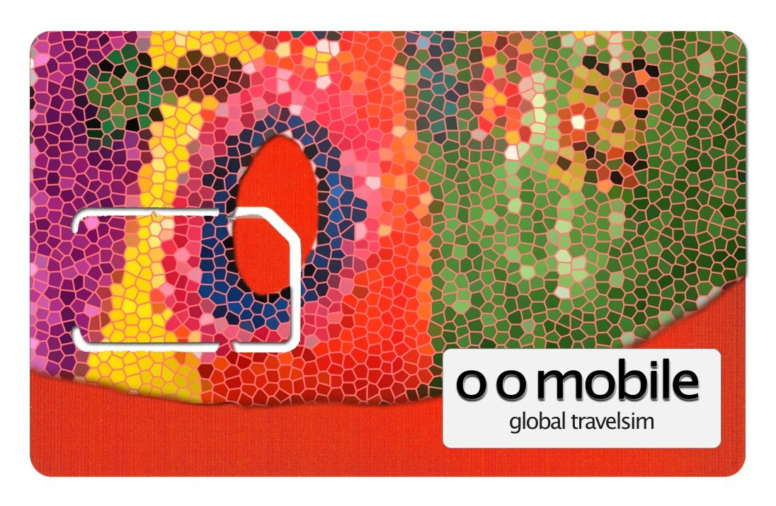 The O O Mobile Global TravelSim - #1 Global Roaming Sim Card with $5 loaded.