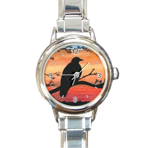 Round Italian Charm Watch from art Bird 46 crow raven