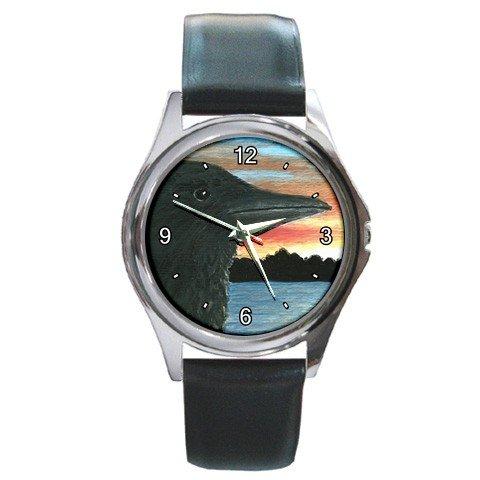 Round Metal Wrist Watch from art Bird 30 Crow Raven