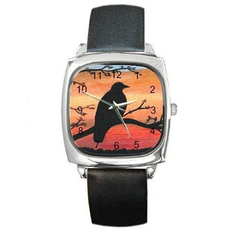 Square Metal Wrist Watch from art Bird 46 Crow Raven