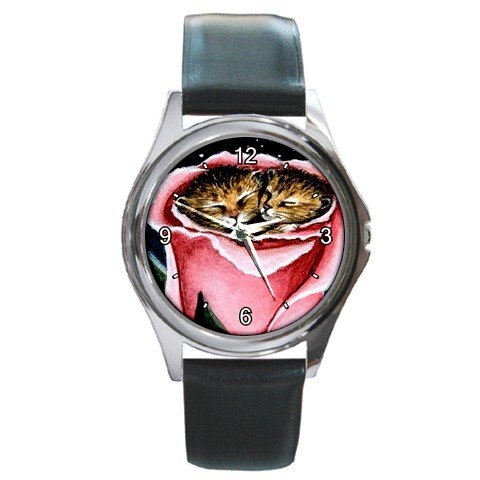Round Metal Wrist Watch art painting Cat 259