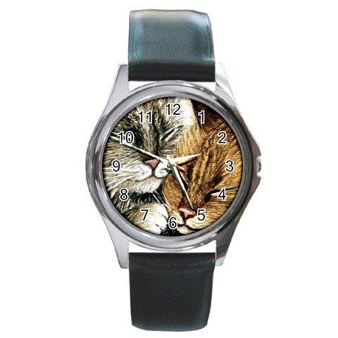 Round Metal Wrist Watch art painting Cat 265