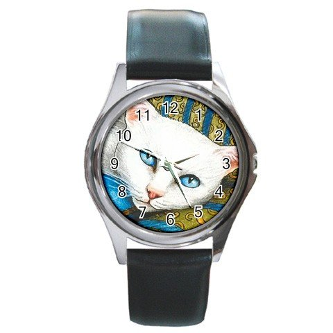 Round Metal Wrist Watch art painting Cat 302