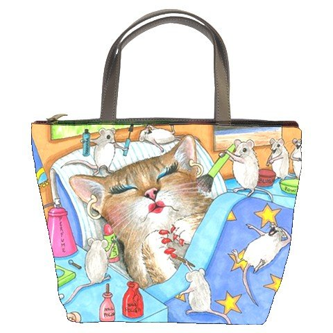 Bucket bag Purse from funny art painting Cat 508 mouse