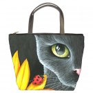 Bucket bag Purse from art painting Cat 510 ladybug