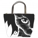 Bucket bag Purse from art painting Cat 510 black & white