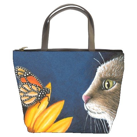 Bucket bag Purse from art painting Cat 541 butterfly