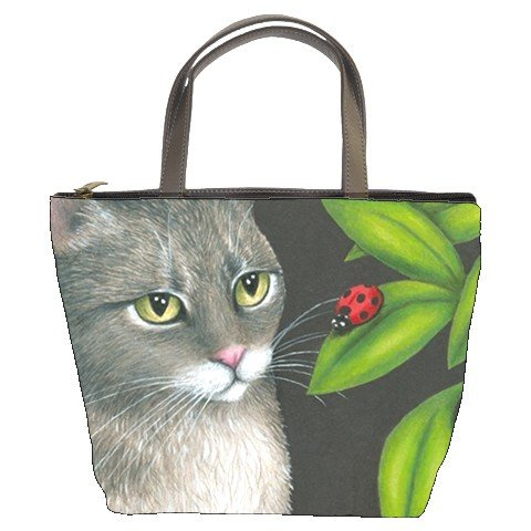 Bucket bag Purse from art painting Cat 543 ladybug