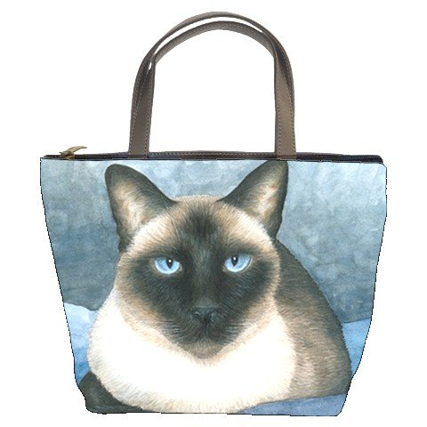 Bucket bag Purse from art painting Cat 547 siamese