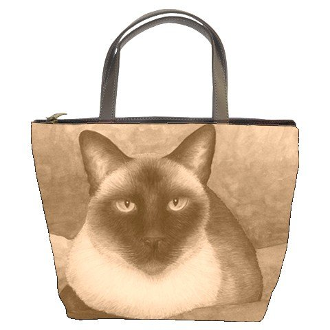 Bucket bag Purse from art painting Cat 547 siamese sepia