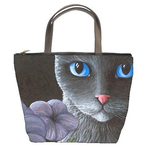 Bucket bag Purse from art painting Cat 550 flower