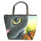 Bucket bag Purse from art painting Cat 555 butterfly