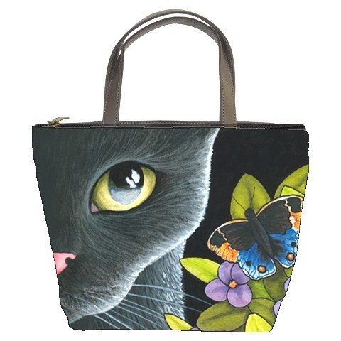 Bucket bag Purse from art painting Cat 557 butterfly