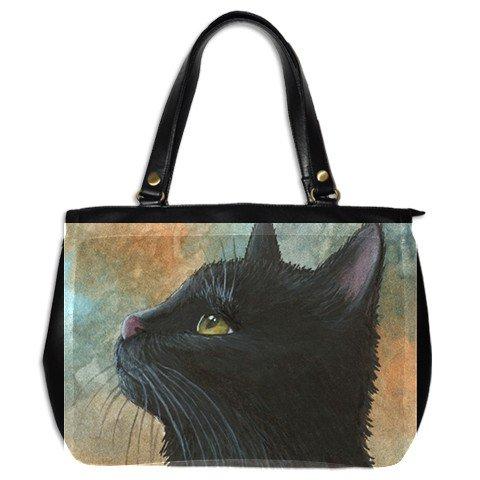 Office Handbag Purse from art painting Cat 545 black cat