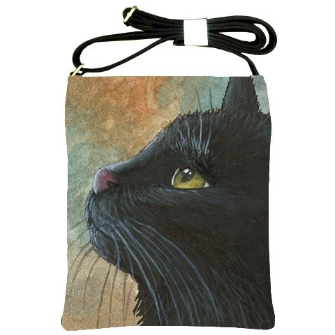 Shoulder Sling Bag Purse from art painting Cat 545 black cat