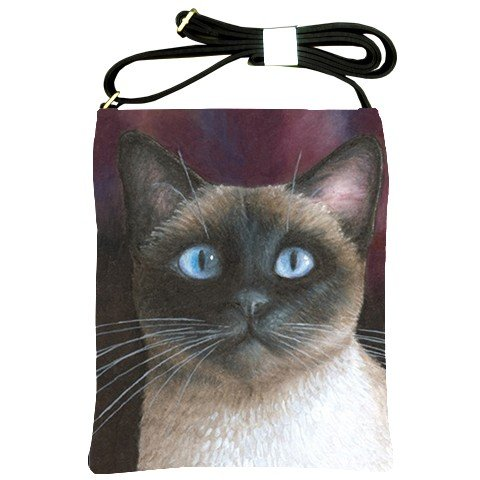 Shoulder Sling Bag Purse from art painting Cat 548 siamese