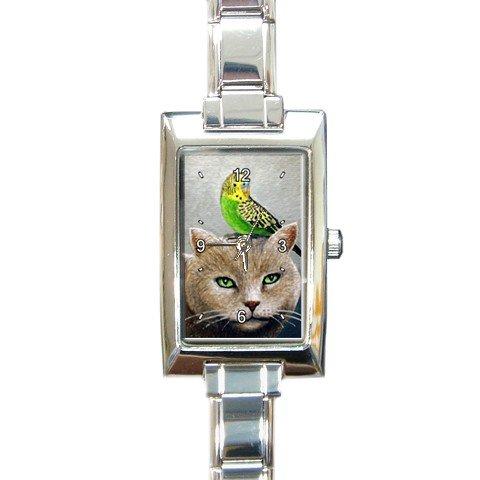 Rectangular Italian Charm Watch from art Cat 49 bird