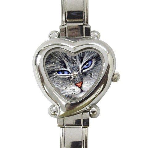 Heart shape Italian Charm Watch from art painting Cat 52