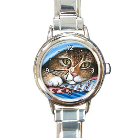 Round Italian Charm Watch from art painting Cat 258