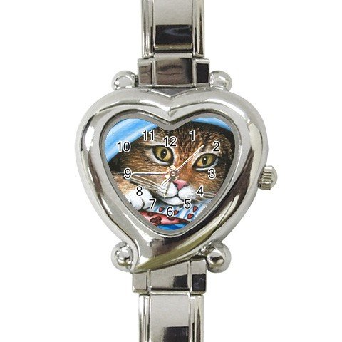 Heart shape Italian Charm Watch from art painting Cat 258