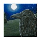 Ceramic Tile Coaster from art painting Bird 52 Crow raven