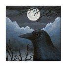 Ceramic Tile Coaster from art painting Bird 58 Crow raven