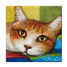 Ceramic Tile Coaster from art painting Cat 251