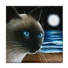 Ceramic Tile Coaster from art painting Cat 396 Siamese