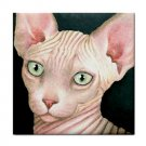 Ceramic Tile Coaster from art painting Cat 412 sphynx