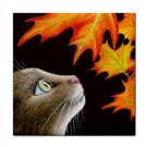 Ceramic Tile Coaster from art painting Cat 442 fall autumn