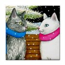 Ceramic Tile Coaster from art painting Cat 443 winter