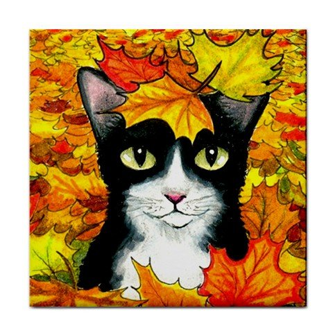 Ceramic Tile Coaster from art painting Cat 447 fall autumn