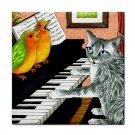 Ceramic Tile Coaster from art painting Cat 457 birds,piano
