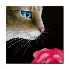 Ceramic Tile Coaster from art painting Cat 465 flower