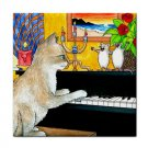 Ceramic Tile Coaster from art painting Cat 506 mice,piano
