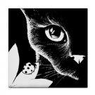 Ceramic Tile Coaster from art painting Cat 510 b/w ladybug